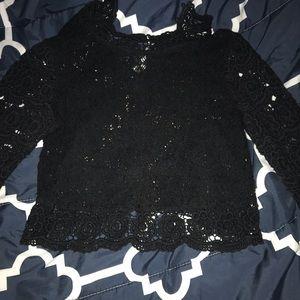 Black laced long sleeve crop top